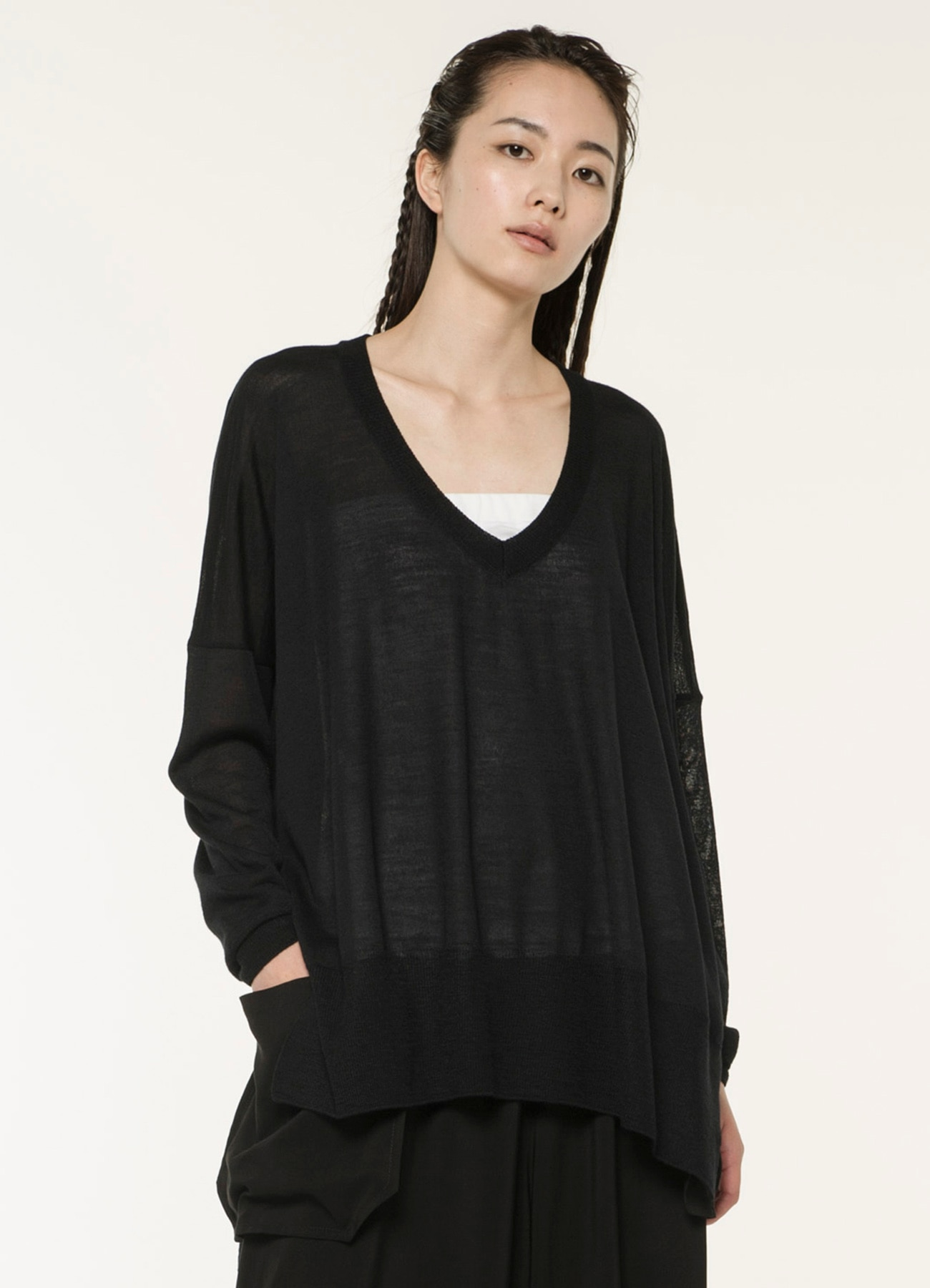 Ry/W Plain Stitches Square Sweater