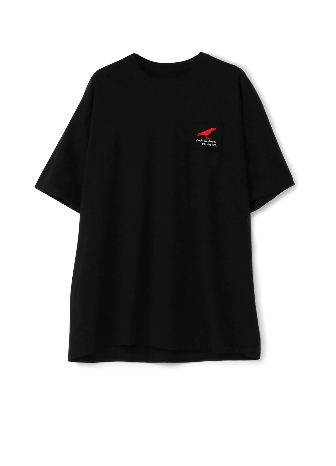 Red crow embroidered T-shirt