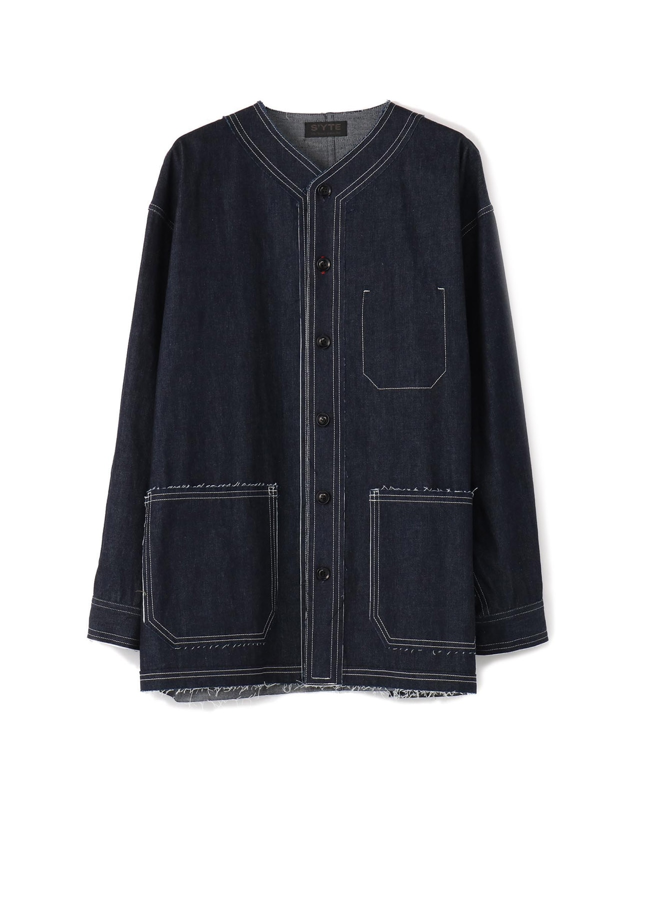 8oz Denim Collarless Coverall Jacket