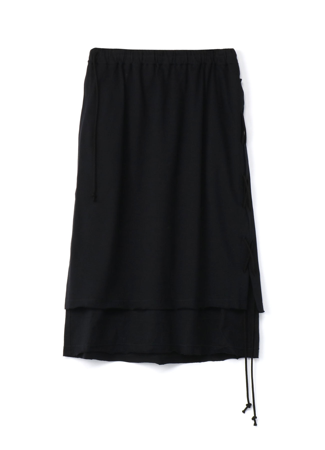 40/2Cotton Jersey Side Lace Up Lap Skirt