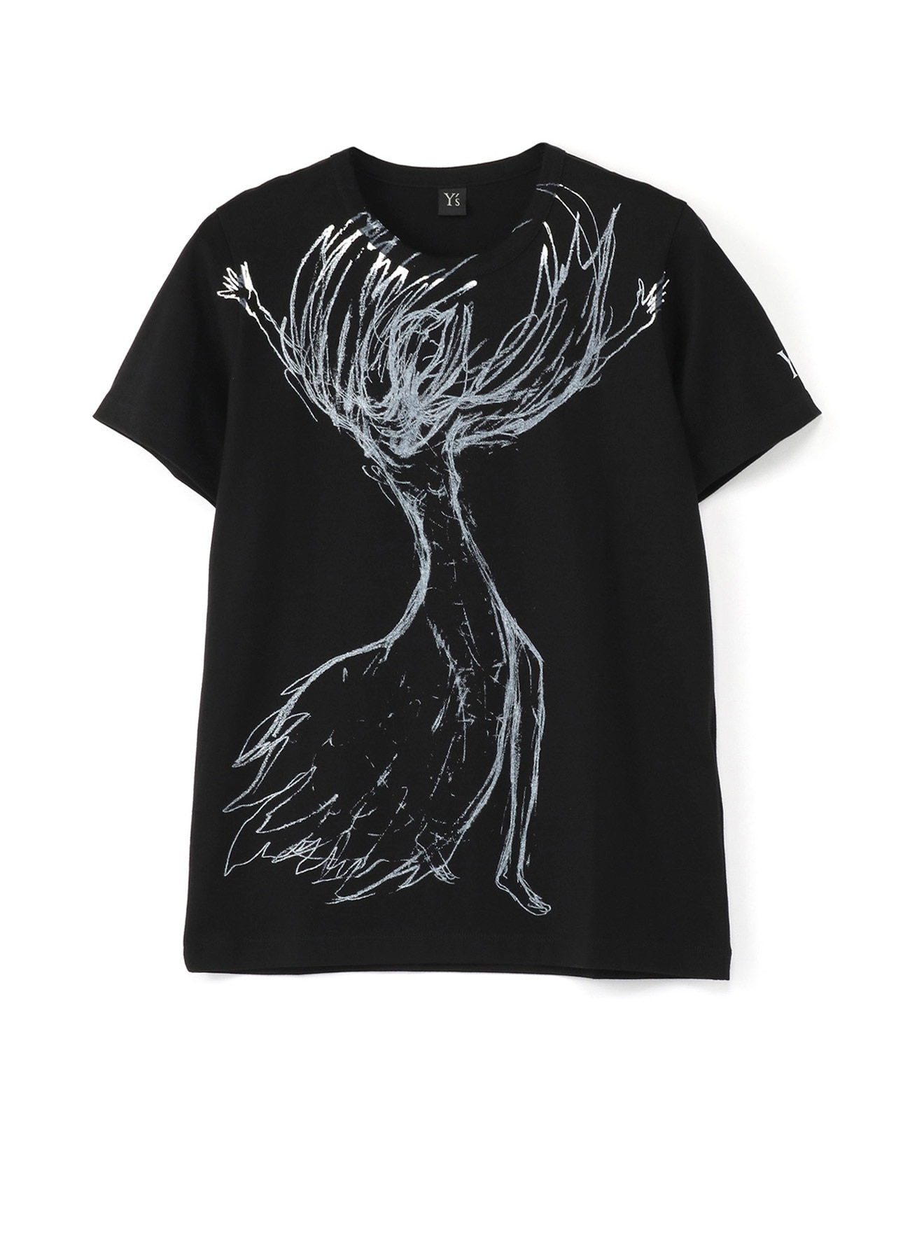 Drawing Graphic T-Shirt Woman with Both Arms Raised