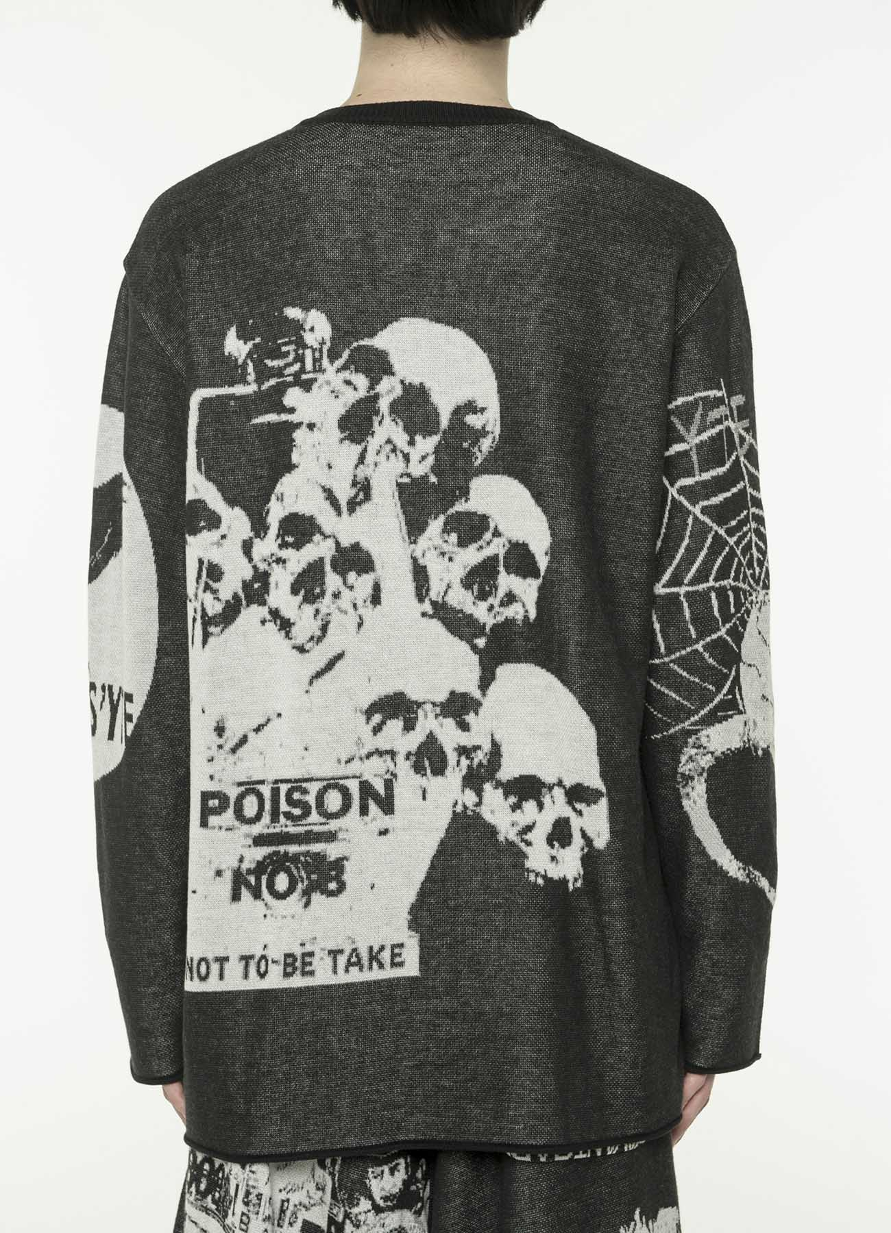 Hameauze Jacquard Knit Graphic Total Feature Crew Neck Black