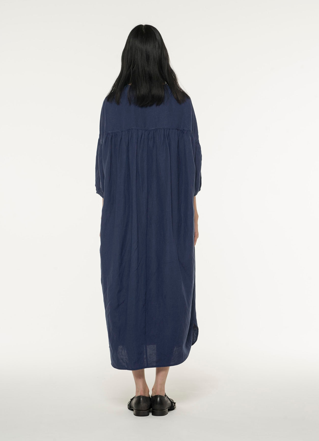 Rayon linen Easy cross Henry yoke gather longdress
